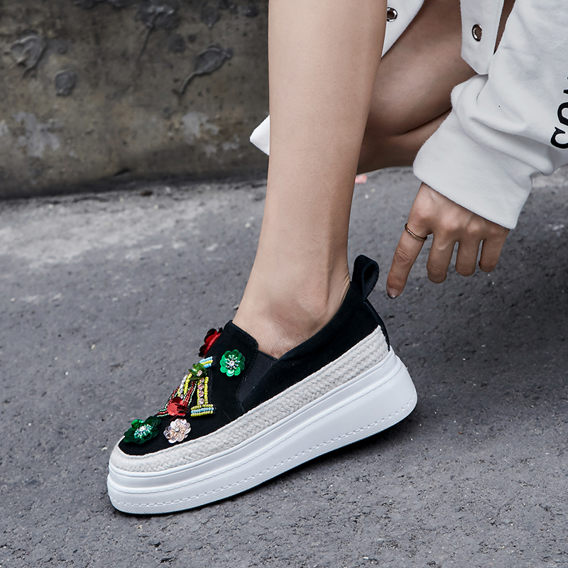 Platform Sneakers Women Leather Loafers Black Green Bling Casual Shoes Women 5.5cm Zapatillas Mujer Casual sneakers