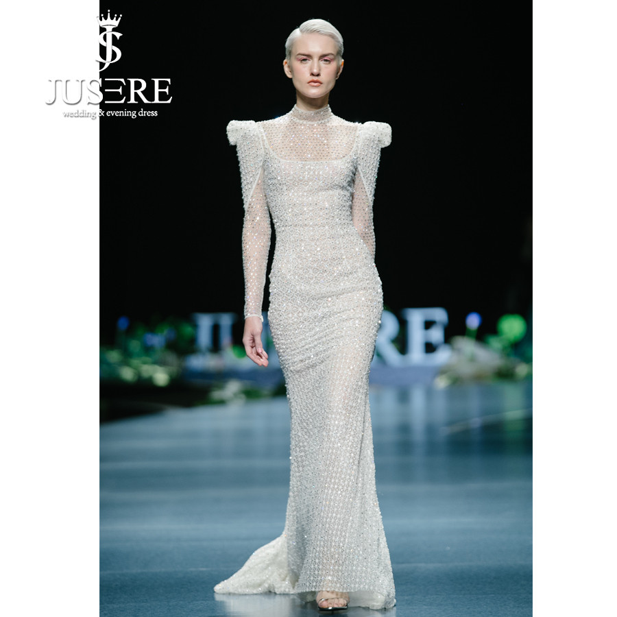 JUSERE 2019 SS FASHION SHOW High Collar Ivory Mermaid Wedding Dress Long Sleeve Beadeds Sweep Train Bridal Gowns Robe De Mariage