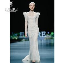 JUSERE 2019 SS FASHION SHOW High Collar Ivory Mermaid Wedding Dress Long Sleeve Beadeds Sweep Train Bridal Gowns Robe De Mariage