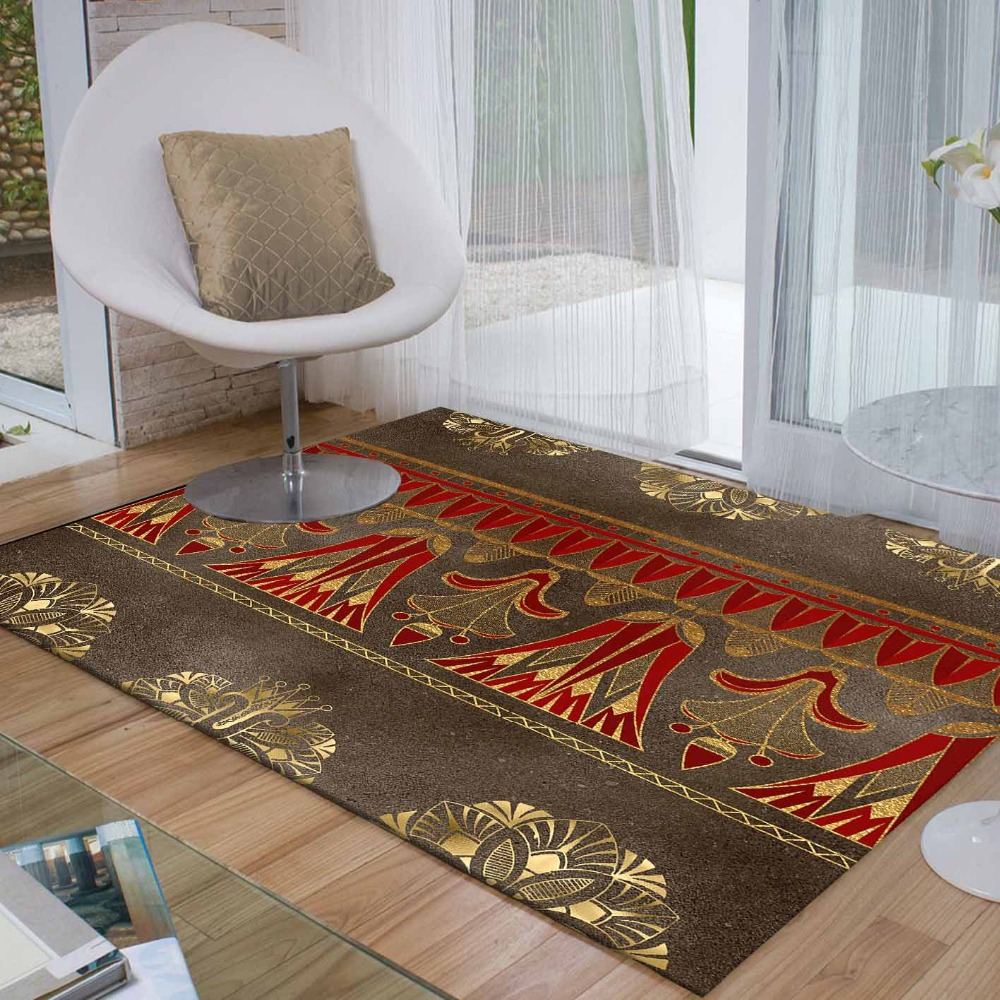 Else Brown Red Golden Yellow Ethnic Egypt Pers 3d Print Non Slip Microfiber Living Room Decorative Modern Washable Area Rug Mat