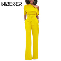 NIBESSER Jumpsuits Women Romper Overalls Sexy One Shoulder Jumpsuit Rompers 2017 Fall Elegant Female Solid Body
