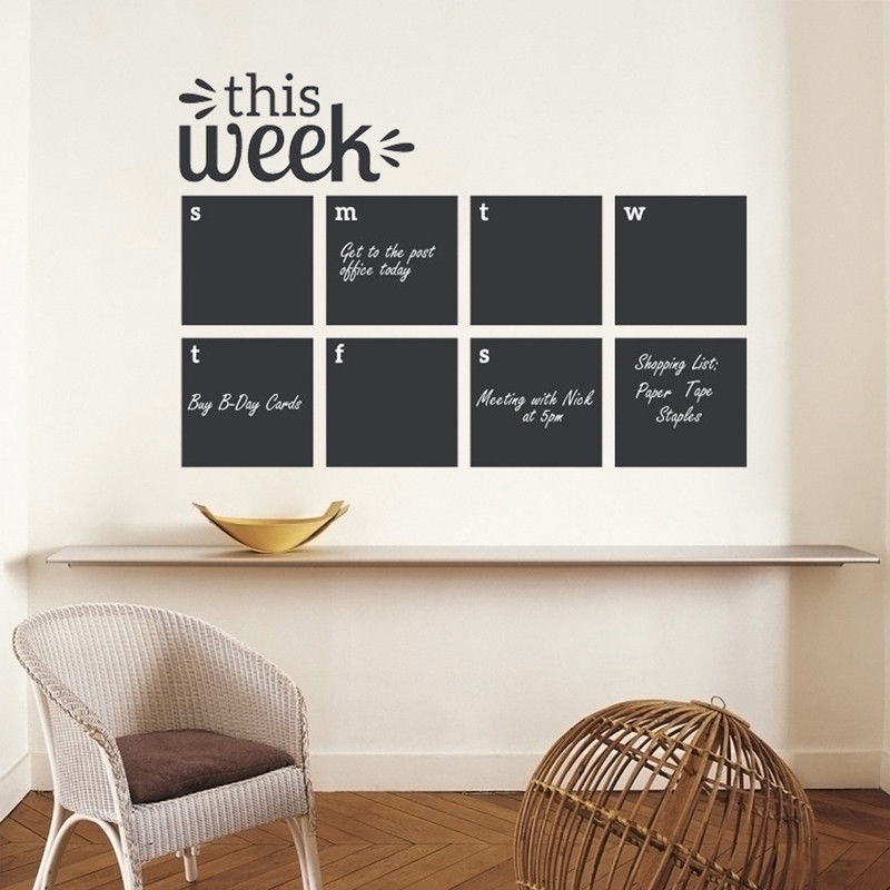 Wall Decal This Week Blackboard Planner Removable Vinyl Chalkboard Calendar Decor Sticker Memo Home Wall Decal Sticker AY011