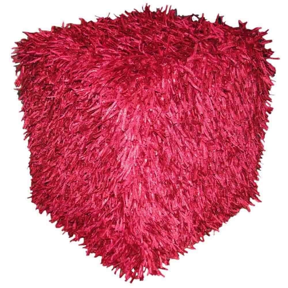 Design Accents Hand Woven Pouf Plush Mulberry Red Square 18x18x18 woven textile design