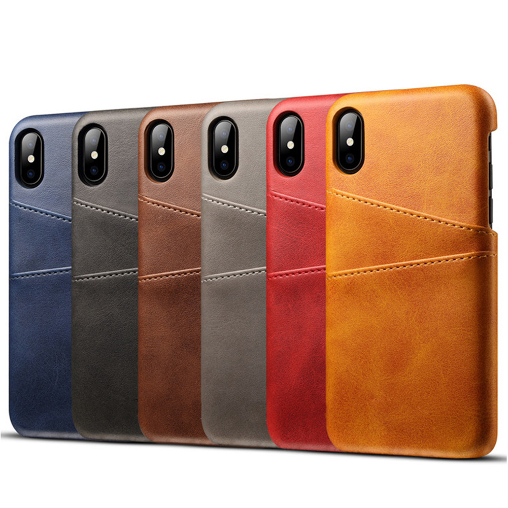 Ultra Slim Faux Leather Back Case Cover with 2 Card Slots for iPhone X 8 6 7 Plus