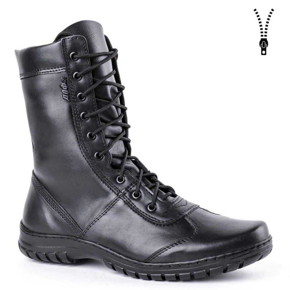 Bottines en cuir véritable à lacets noir armée hommes chaussures hautes bottes militaires plates 5023/11WA - 5
