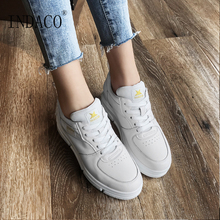 2019 Leather White Sneakers Women Platform Casual Sneakers Women Canvas Shoes 2.5cm Zapatos Mujer Plataforma 8 cm heels white women platform sneakers casual wedges shoes for women white shoes woman plataforma sneaker zapatos de mujer