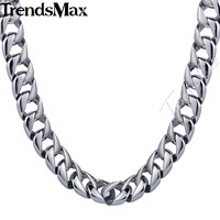 Trendsmax 13mm Heavy Mens Chain Boys Necklace Smooth Curb Cuban Link 316L Stainless Steel Necklace Personalize Sz Gift HN47