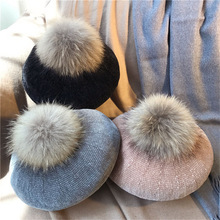 Women beret hat female winter knitted wool natural raccoon fox fur pompom solid color cap 2017