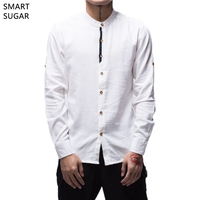 SMART SUGAR 2017 New Men S Cotton Linen Shirt Long Sleeve Stand Collar Chinese Style Solid