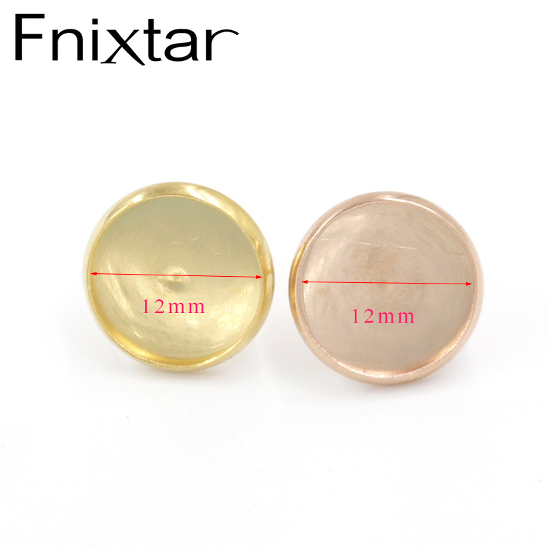 Fnixtar Stainless Steel  Gold / Rose Gold Color  Blank Earring Base 12mm  Flat Earring Setting Diy Jewelry Making 100Piece/lot