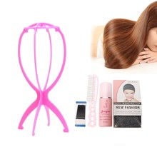 5pcs Wig Care Tool Kit Plastic Wig Holder Stand+100ml Hair Conditioner Spray+22 Steel Tooth Comb+Weaving Cap Hair Repair Tools(China)