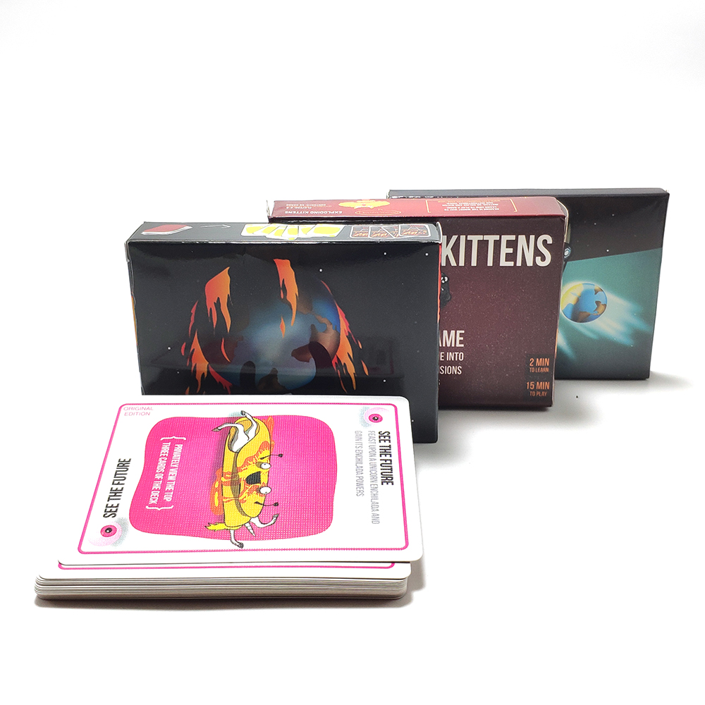 Explode Fun For Kitten Board Games For Kids Adult Original-Red Box, NSFW -Black Box, Expansion-20 Playing Cards Home Party Game
