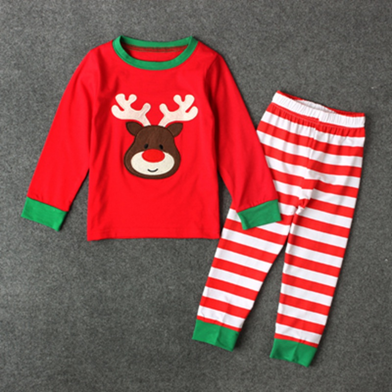 Christmas Newborn Baby Girl Boy Outfits Deer Tops+Striped Pants Newborn Baby Boys Girls Clothes New Born Infant 2pcs Suit