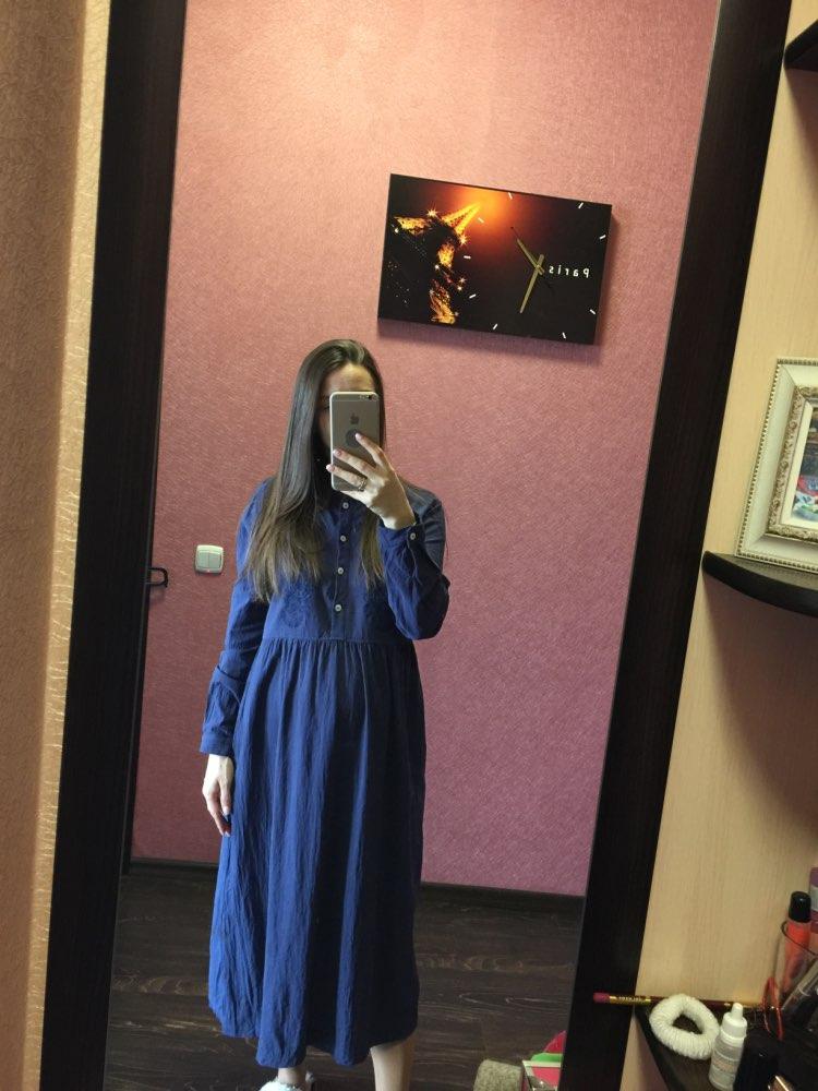 Plus Size Utumn Vintage Embroidery Long Shirt Dress Women Casual Long Sleeve Cotton Linen Loose Party Vestidos photo review