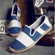 2018 Fashion Flat Heels Men Linen  Male Espadrille Fisherman Shoes Men Flats Plimsolls Striped Canvas Men Casual Shoes LA-31