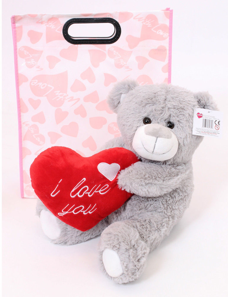 "VALENTINES DAY I LOVE YOU ENGLISH 16"" LARGE GREY TEDDY BEAR MOTHERS DAY CHRISTMAS PLUSH CUTE GIFT GIRLFRIEND BOYFRIEND"