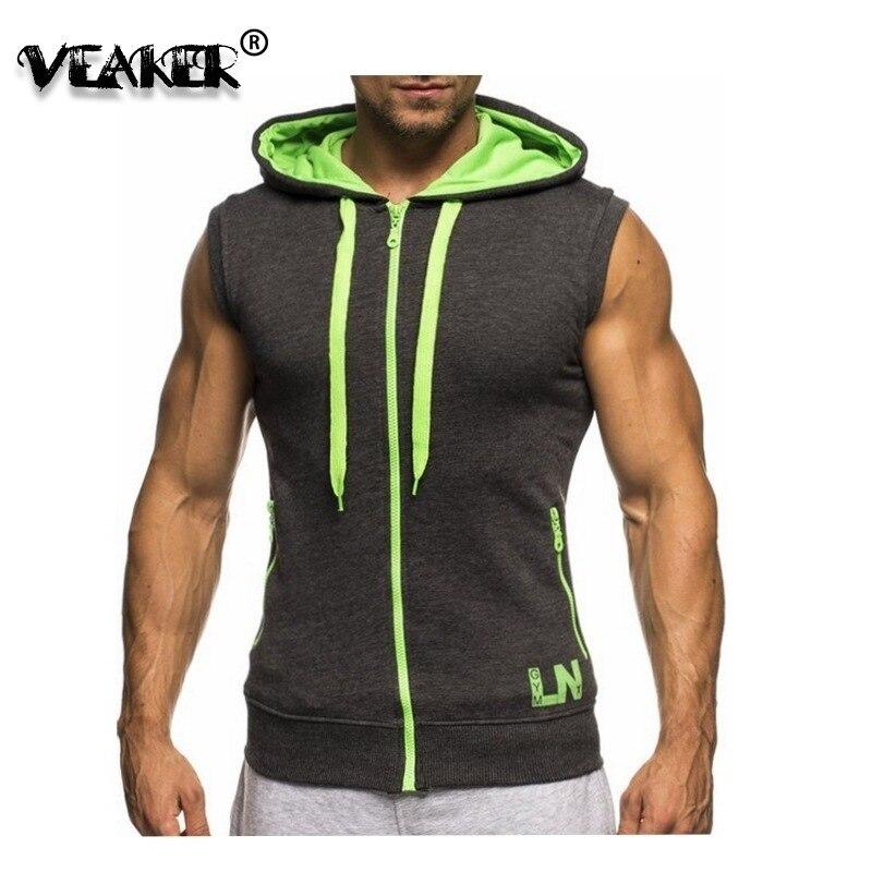 2018 New Men's Hoodie Sweatshirts fitness bodybuilding   tank     tops   Male Sleeveless Tees Shirt Casual Zipper vest