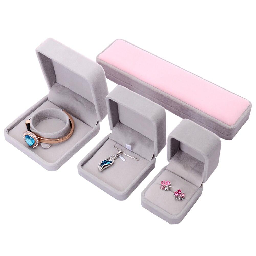 Faux Velvet Presentation Gift Jewellery Ring Necklace Bracelet Display Box Case