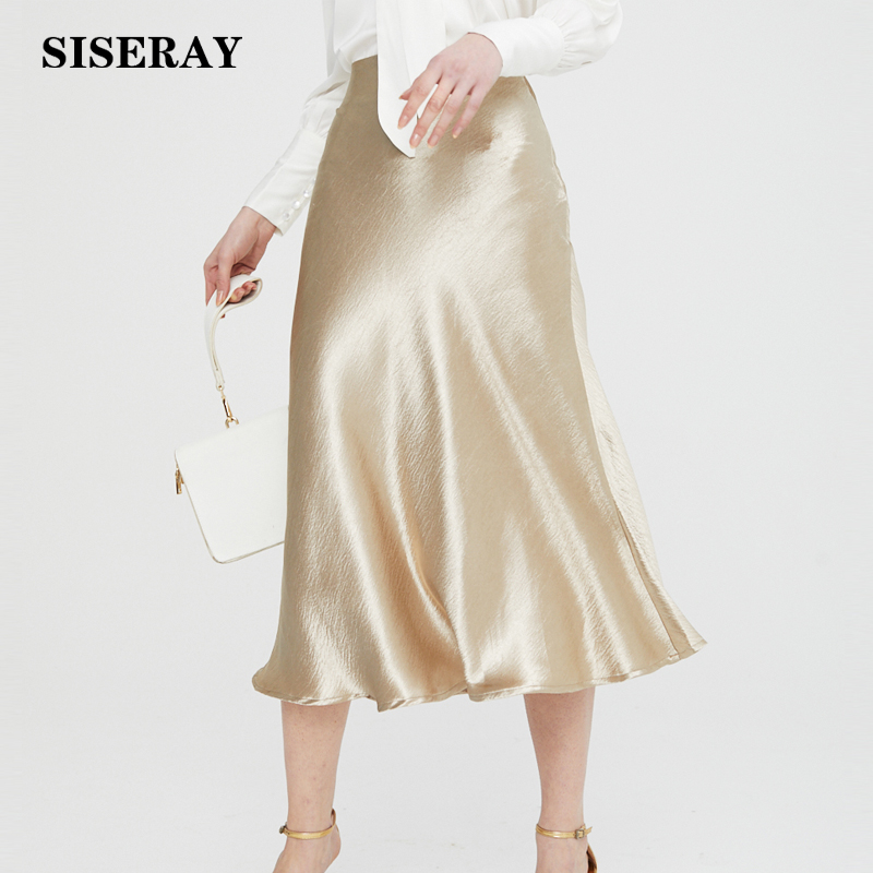 Gold Silver Gloss Silk Satin Skirt Vintage Midi Skirts Womens High Waist Sexy Wrap Lady Fashion 2019 Women Clothing