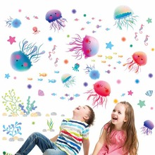 New Lovely Jellyfish Style Wall Stickers On The Wall children Kids Rooms Bathroom DIY Home Decor PVC Vinyl Decals Decor Fashion