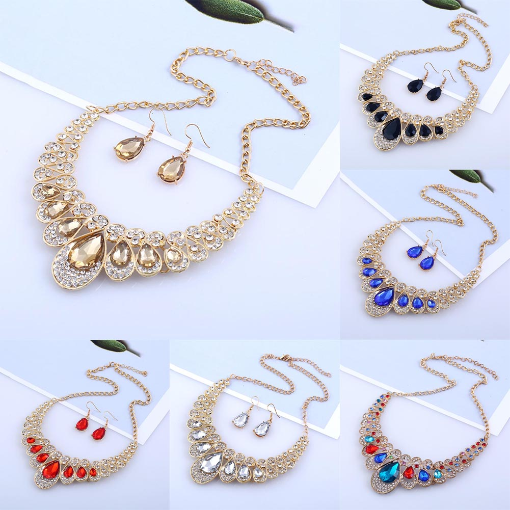New Fashion Color Crystal Necklace Earrings Sets Prom Wedding Party Necklace Earrings Jewelry Sets Gift Women