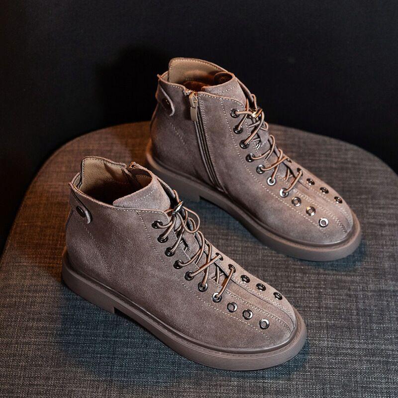 Rétro Martin En Daim Khaki Cuir Chaussures upamp; Couleurs Femmes Mat Zip Vache Casual black Bottes Plat 2 De Talons Femelle Lace wknO0P