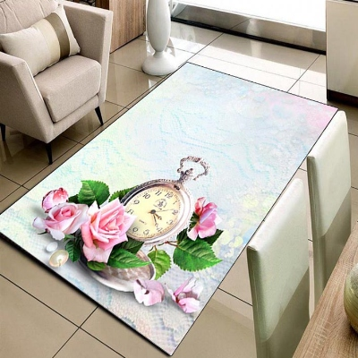 Else Blue Floor Pink Rose Vintage Clock Floral 3d Print Non Slip Microfiber Living Room Decorative Modern Washable Area Rug Mat