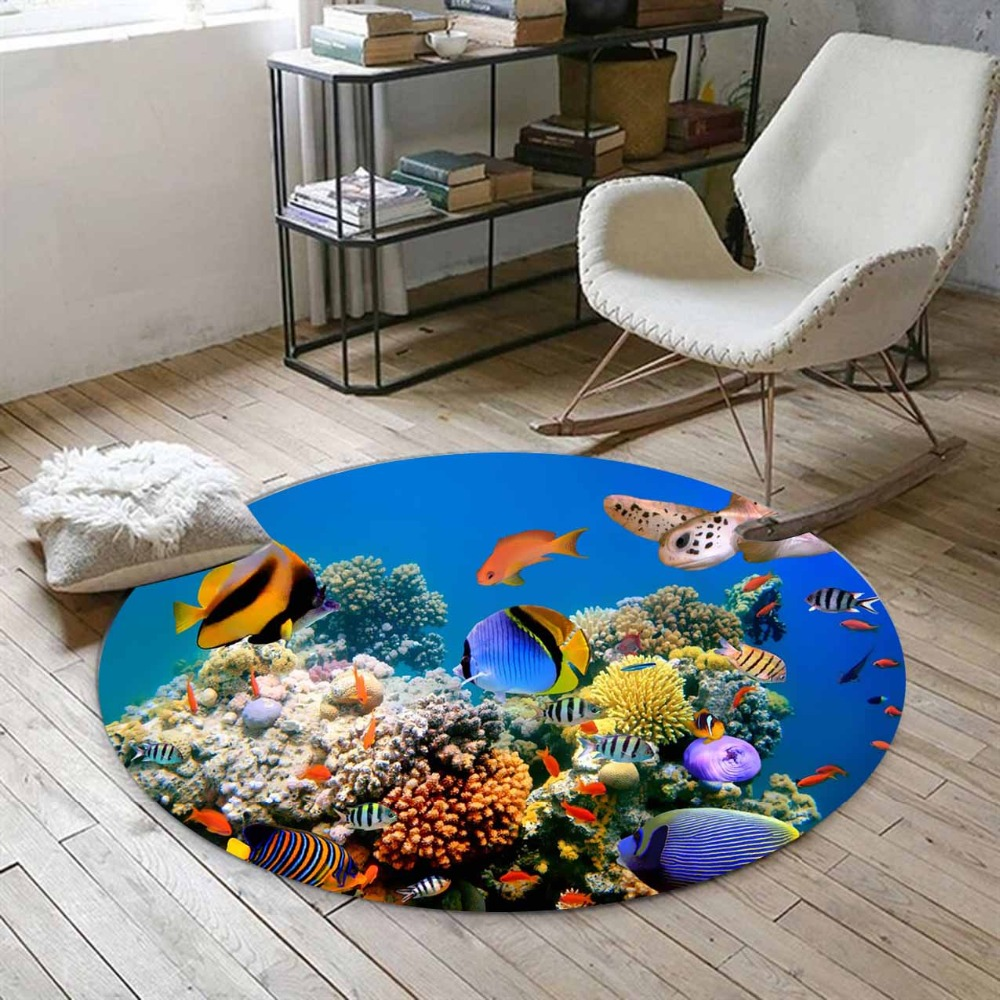 Else Tropical Blue Sea Aquarium Yellow Black Fishes 3d Print Anti Slip Back Round Carpets Area Rug For Living Rooms Bathroom