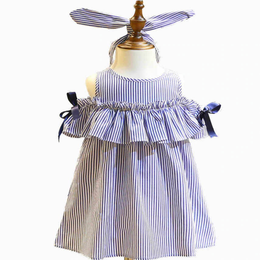 cdb4fcc3b3426 New 2018 Summer Striped Blue Party, Girls' Cotton Dress, Frills And Scarves,