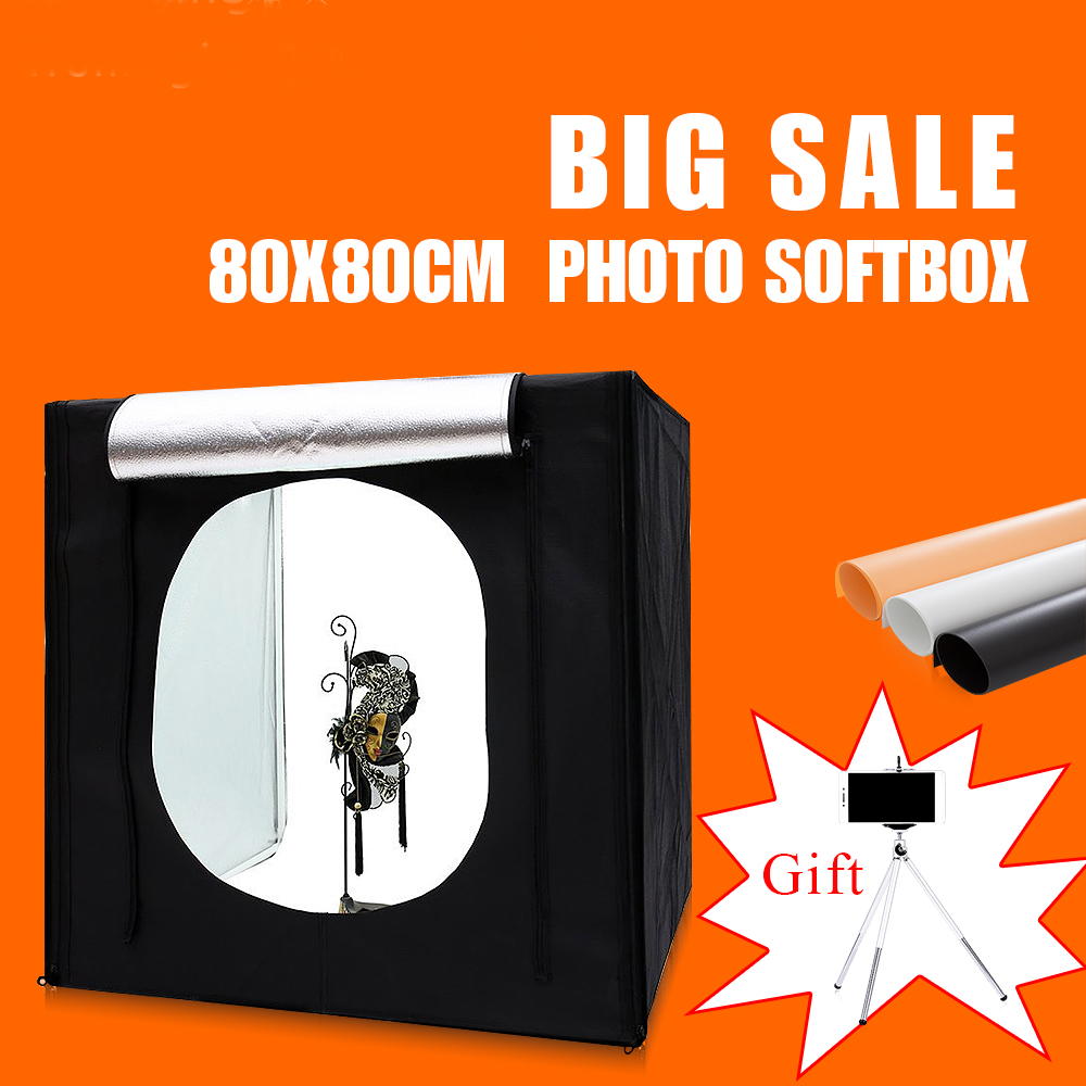 80X80X80CM Led Lightbox For Photo Shooting Room ,Portable photo box Studio  ,Photography Softbox Clothing With Mini tripod