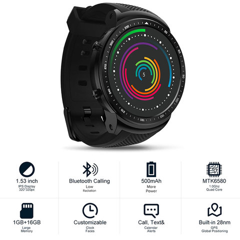 Zeblaze THOR Dual Chipset 3G Smart Watch LTE Global Bands 8MP Front Camera 2G+16G ROM WIFI GPS 1.53' AMOLED Smartwatch Phone Islamabad