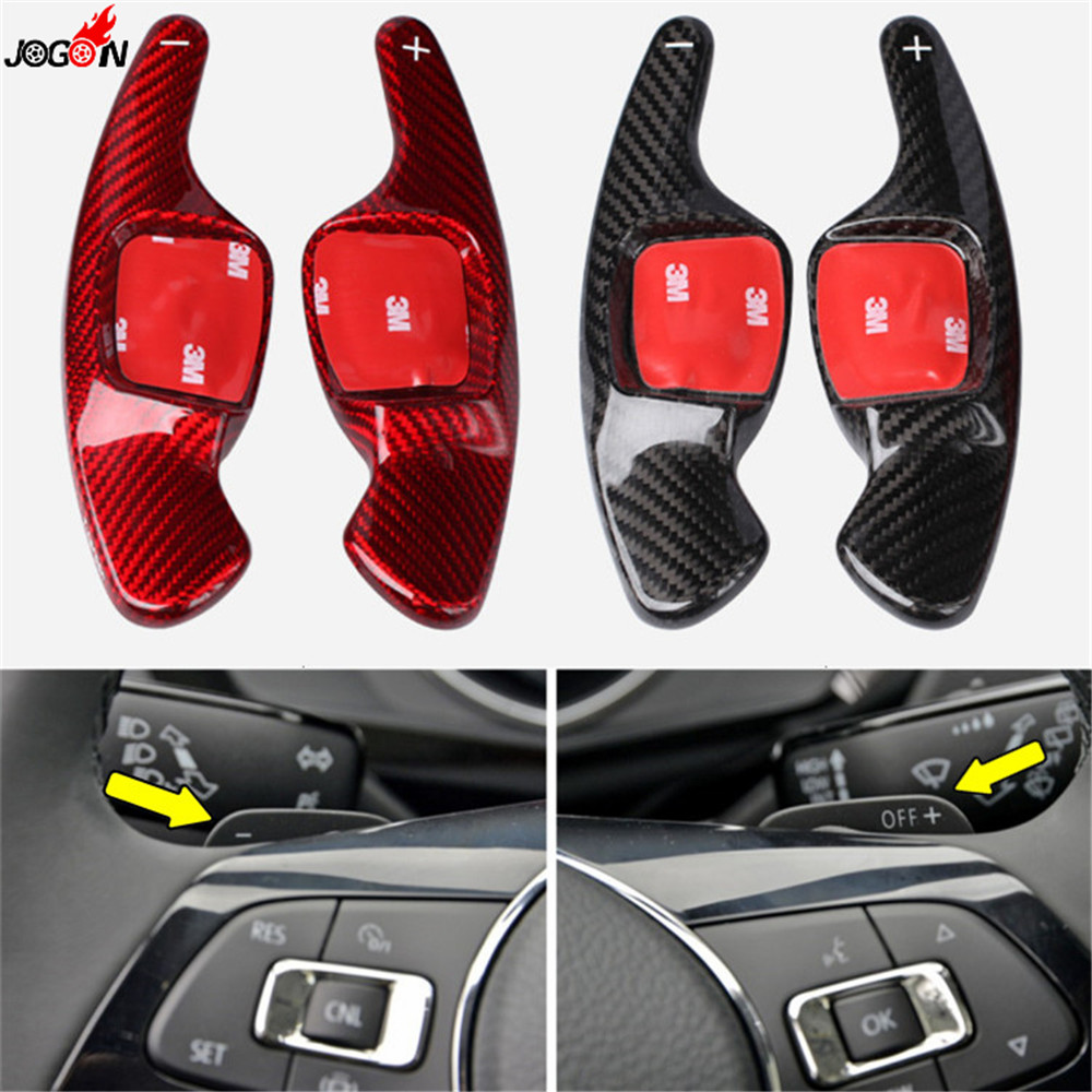 Real <font><b>Carbon</b></font> Fiber <font><b>Steering</b></font> <font><b>Wheel</b></font> Paddle Extension Shifter Cover Trim For VW Volkswagen Passat B8 <font><b>Golf</b></font> <font><b>7</b></font> Tiguan Arteon 2018 2019 image
