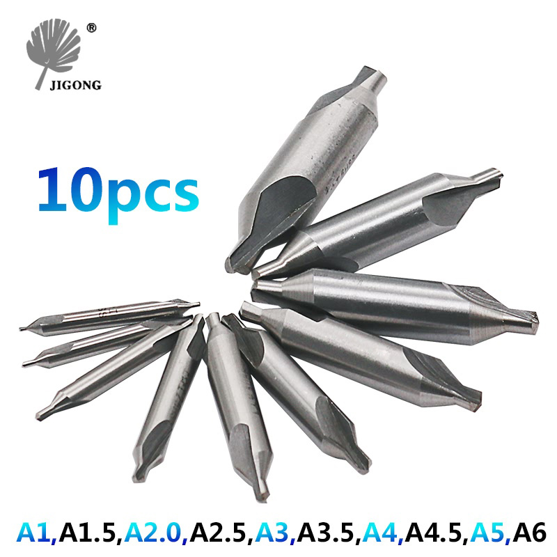 JIGONG 10pcs HSS Combined Center Drills Bit Set Countersinks 60 Degree Angle 1/1.5/2/2.5/3/3.5/4/4.5/5/6mm hot hss combined center drills countersinks 60 degree angle bit set tool metric 3 0mm