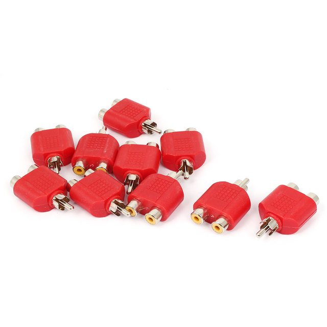 UXCELL Rca Male To Dual Female Y Splitter Plug Audio Adapter Converter Connector Red 10Pcs