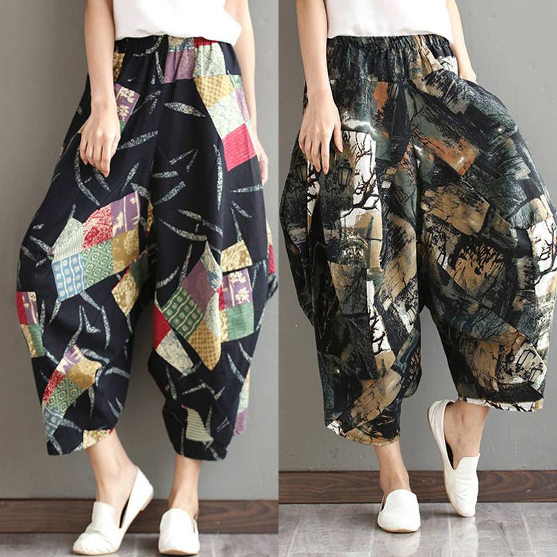 Large size cotton and linen casual   pants   female 2019 spring and summer loose thin lantern   wide     leg     pants   harem   pants