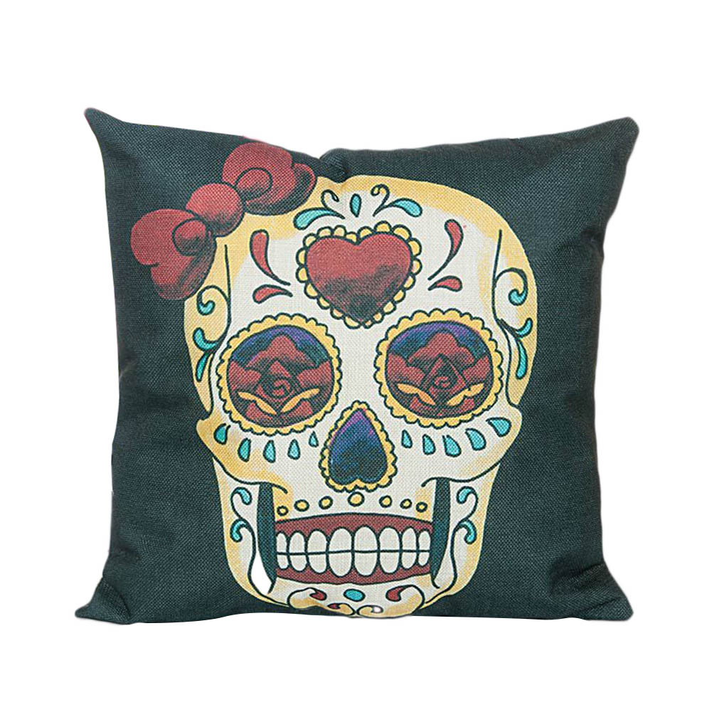 Flower Punk Style Mexico Skull Cotton Linen Cushion Cover Chair Seat and Back Square Pillowcase Home Garden Decorative ...