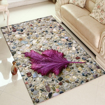 Else Brown Wall Stones Sycamore Purple Leaf 3d Print Non Slip Microfiber Living Room Decorative Modern Washable Area Rug Mat