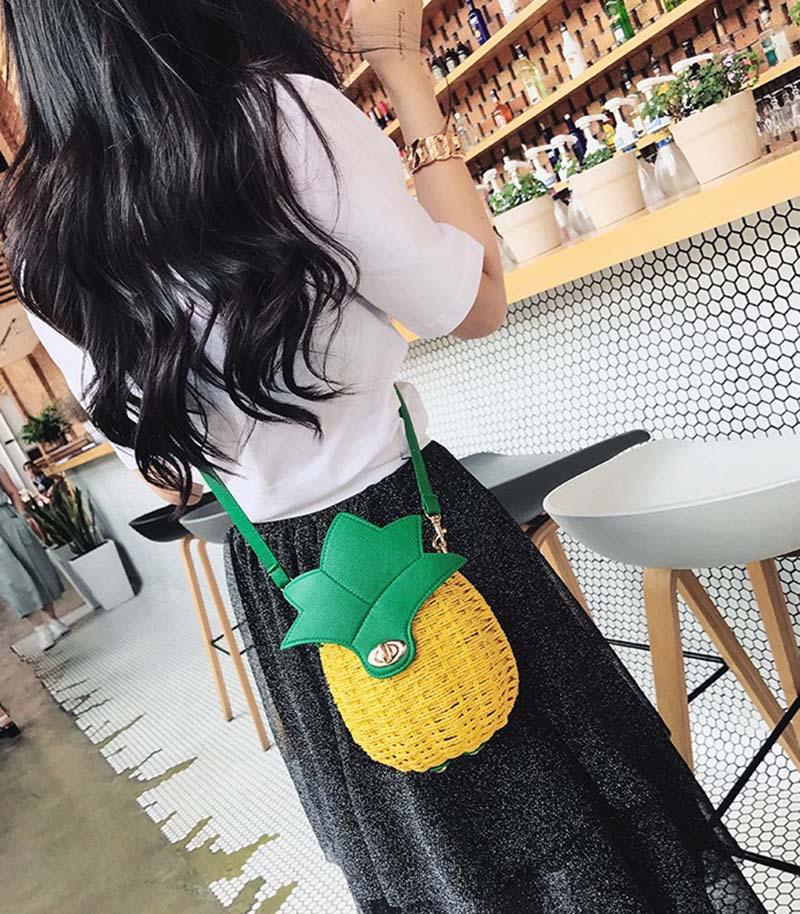 Women Pineapple Handbag Female Messenger Bags Straw Beach Crossbody Bag Lady Fashion Rattan Clutches Tote Knitted SS3010 (14)