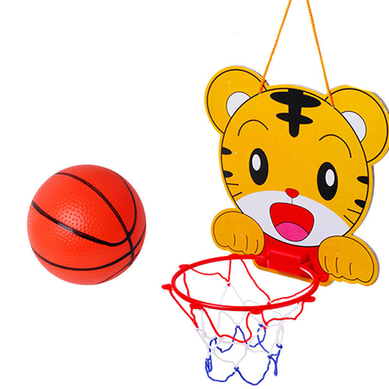 Top Sale Lovely Cartoon Portable Plastic Basketball Hoop Kids Indoor Sports Hanging Basketball Hoop with Ball Children Toys Set