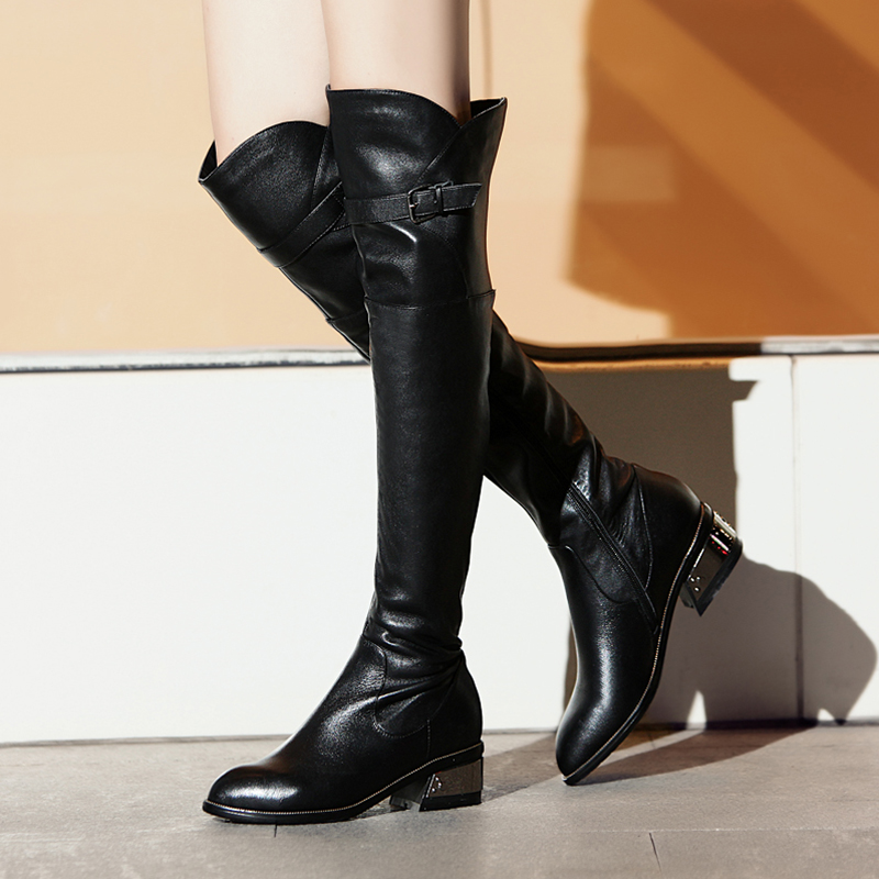 Aliexpress.com : Buy Leather Women Knee High Boots Cow