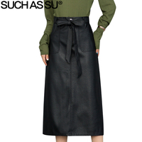 New Casual PU Leather Skirts Womens 2018 Autumn Winter Black Lace Up Bow S 3XL Size Female High Waist Mid Long A Line Skirts