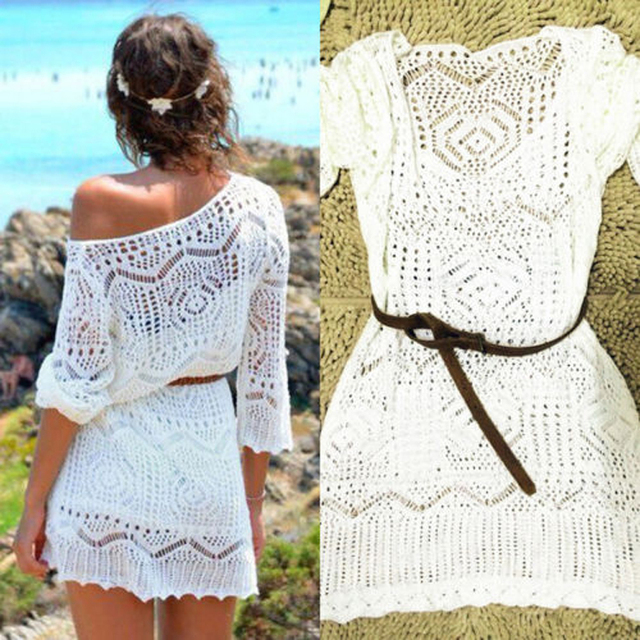 Mujeres blanco verano Sexy Lace Hollow Knit Bikini Cover up Crochet traje de baño ropa de playa Tops largos traje de baño sin cinturón pequeño tamaño