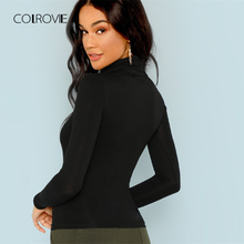COLROVIE Black Solid Workwear High Neck Classic T Shirt For Girls 2018 Autumn Basic Skinny Women Tee Sexy Female Tops Tee
