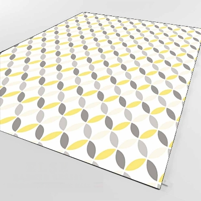 Else Gray Yellow Cream Floral Geometric 3d Print Non Slip Microfiber Living Room Decorative Modern Washable Area Rug Mat