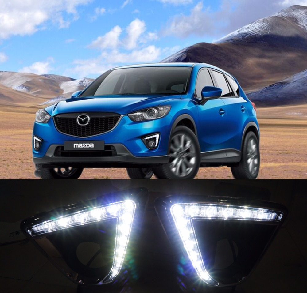 for Mazda cx-5 cx5 2012 13 14 15 16 DRL car led daytime running lights turn signal and dimmer style 12V fog lamp free shipping