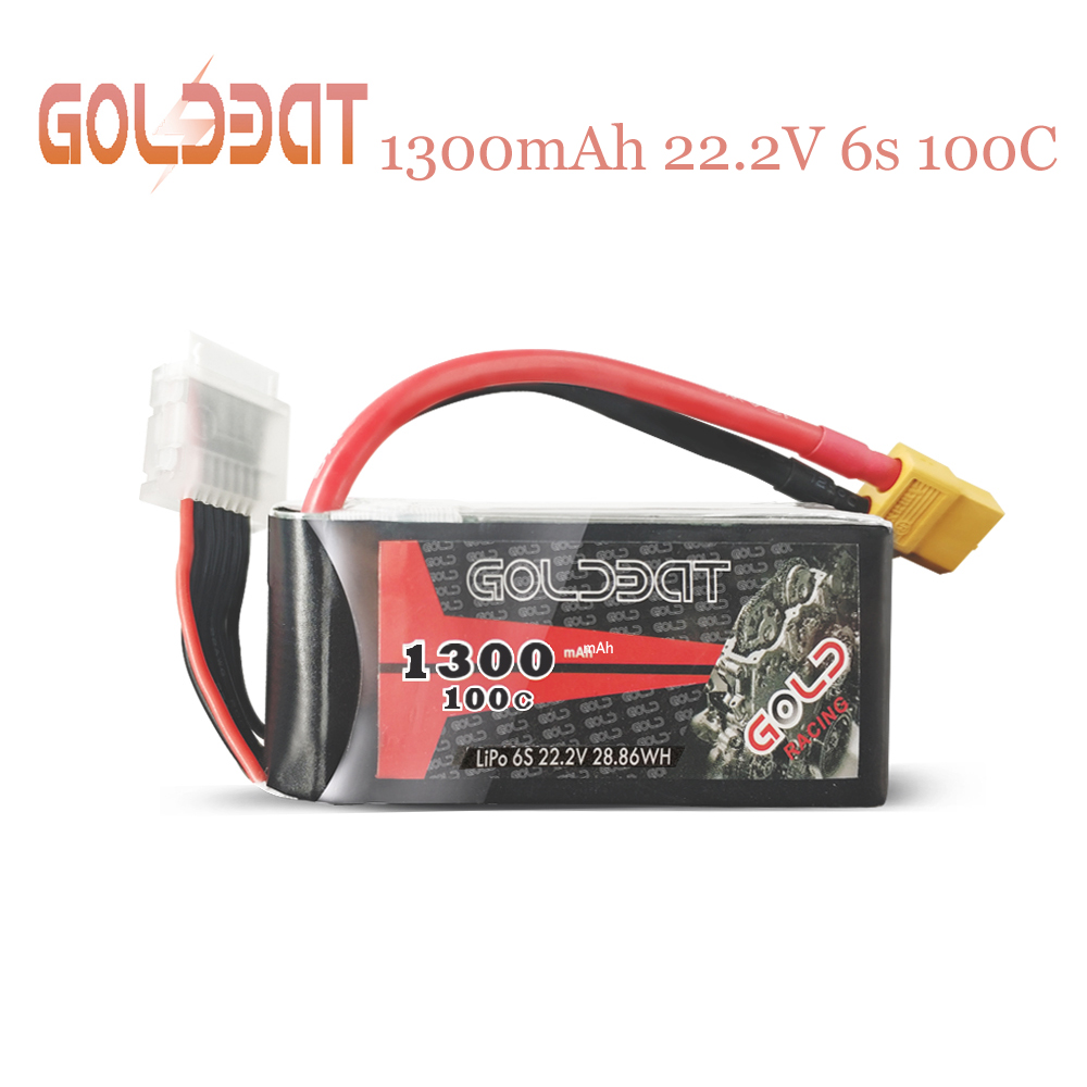 2UNITS GOLDBAT 1300mAh lipo Battery for fpv 6S Lipo Battery 22.2V 100C with XT60 Plug for Drones Racing Road Bike Quadcopters