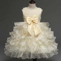 Amazing Baby Girl Ball Wedding Dress Ruffles Bridesmaid Hand Beading Party Dresses Enfant Girl Tutu Baptism