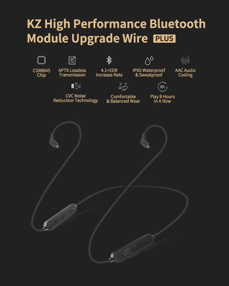 APTX Wireless Bluetooth Cable HIFI Earphone MMCX 2Pin Support IPX5 Use kz  zst zs10 zsr zse zs5 zs