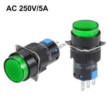 UXCELL 2Pcs Switches 16mm Latching Push Button Switch Green Round 1 NO NC Electrical Equipment Supplies Accessories