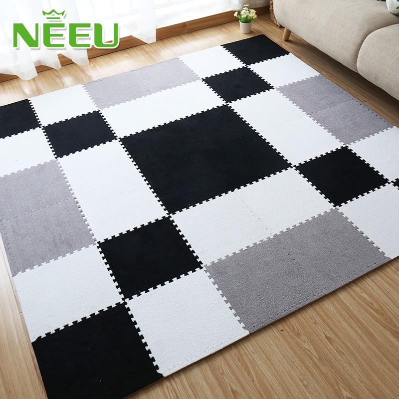 Matt Mats Soft EVA Foam Short Fur Puzzle Baby Play Mat 9pcs Interlock Floor Mat Exercise Mat Living Room Tatami 30X30X1cm Edges